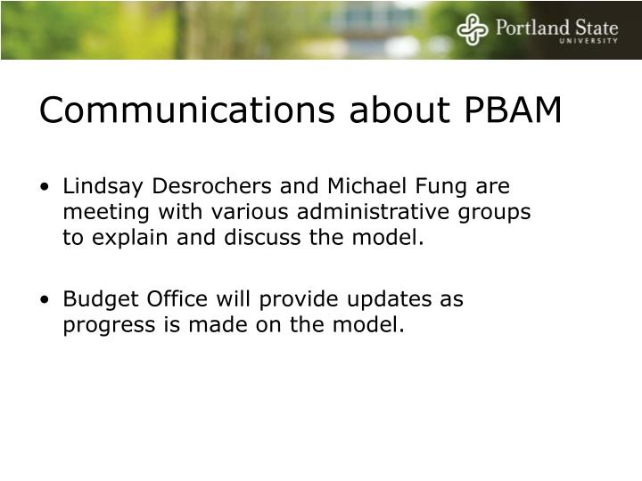Communications about PBAM