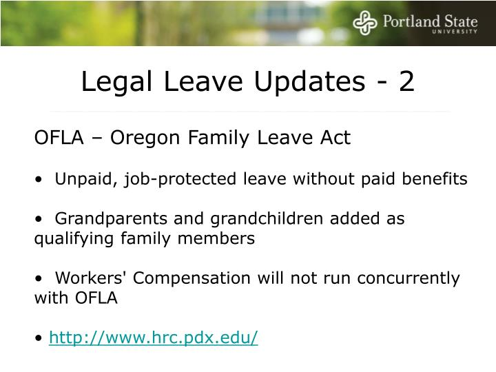 Legal Leave Updates - 2