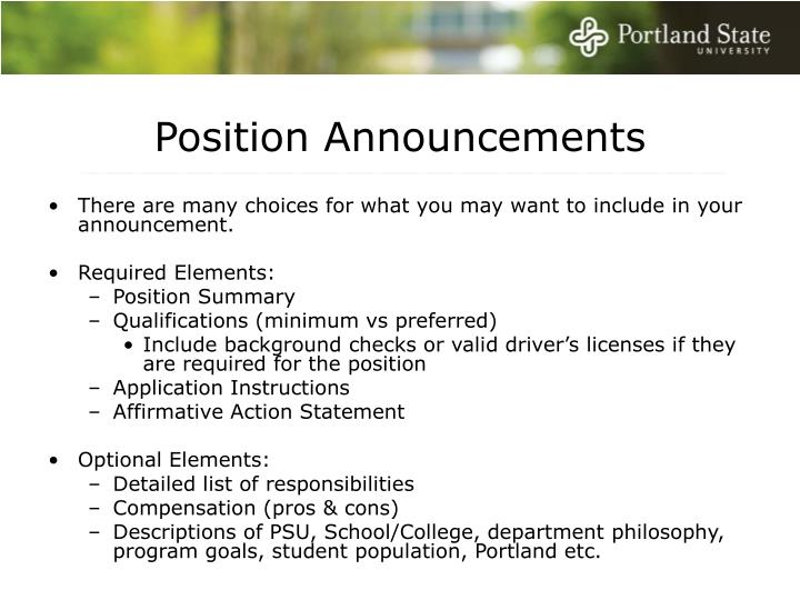 Position Announcements