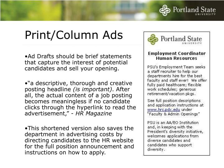 Print/Column Ads