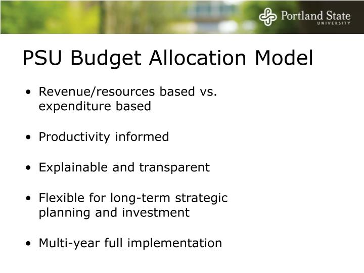 PSU Budget Allocation Model