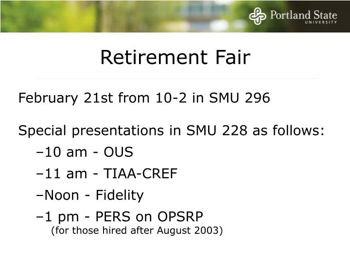 Retirement Fair