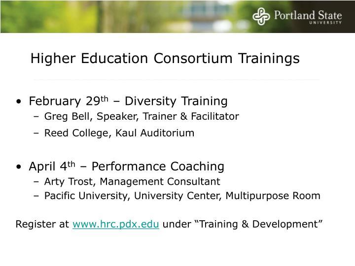 Higher Education Consortium Trainings