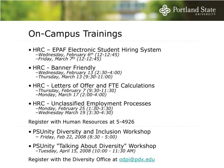 On-Campus Trainings