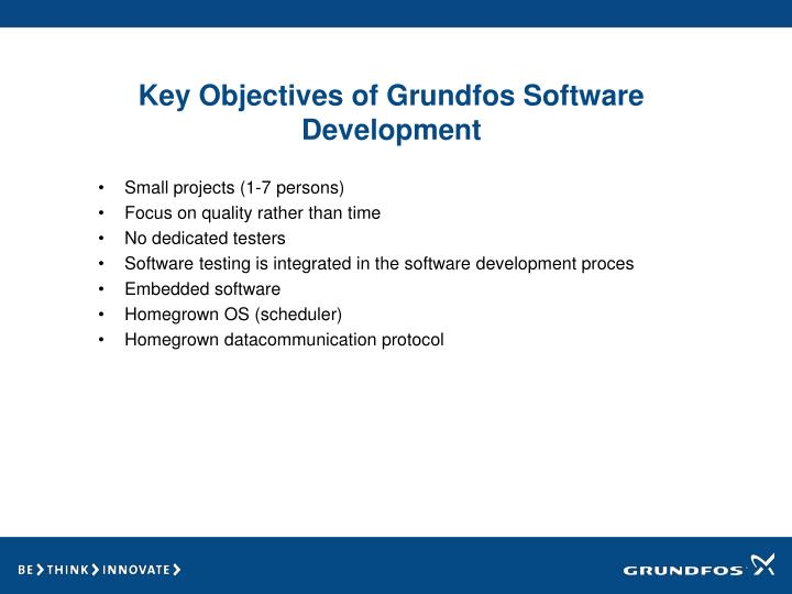 Key Objectives of Grundfos Software Development