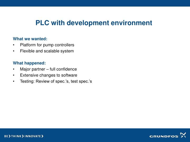 PLC with development environment