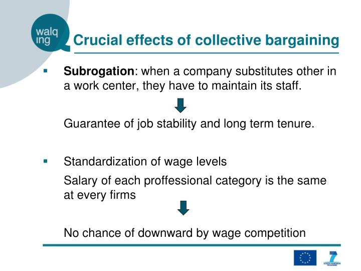 Crucial effects of collective bargaining