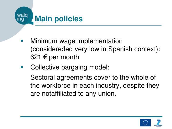 Main policies