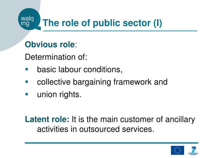 The role of public sector (I)