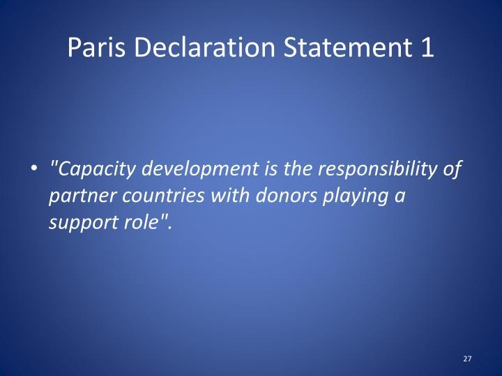 Paris Declaration Statement 1