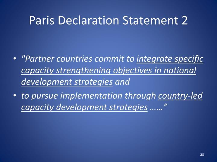 Paris Declaration Statement 2