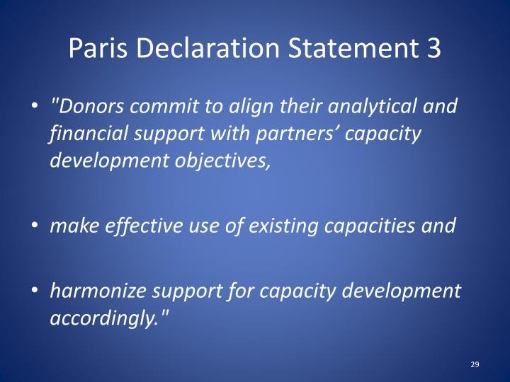 Paris Declaration Statement 3