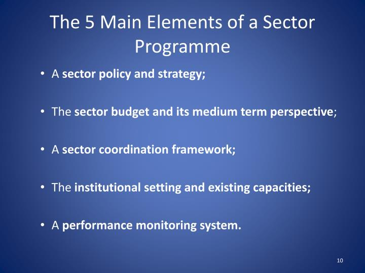 The 5 Main Elements of a Sector Programme