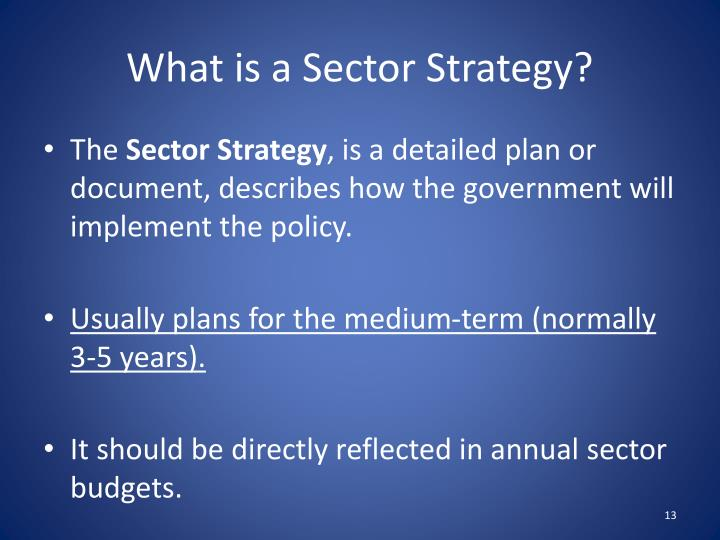 What is a Sector Strategy?