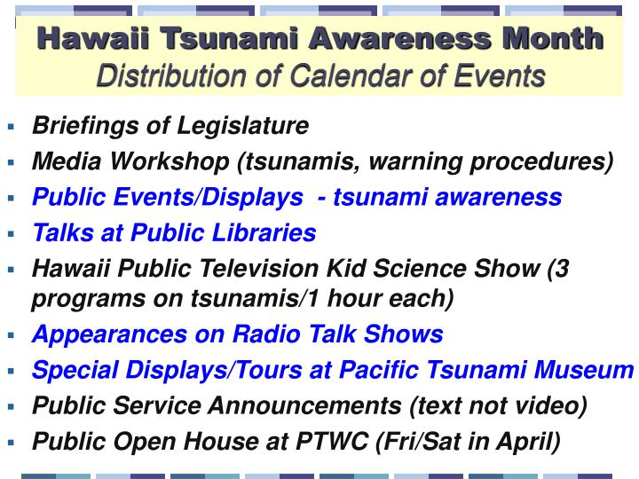 Hawaii Tsunami Awareness Month