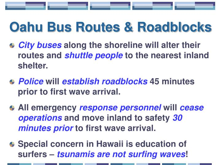 Oahu Bus Routes & Roadblocks