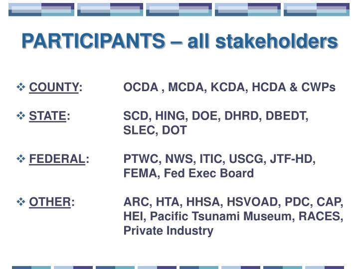 PARTICIPANTS – all stakeholders