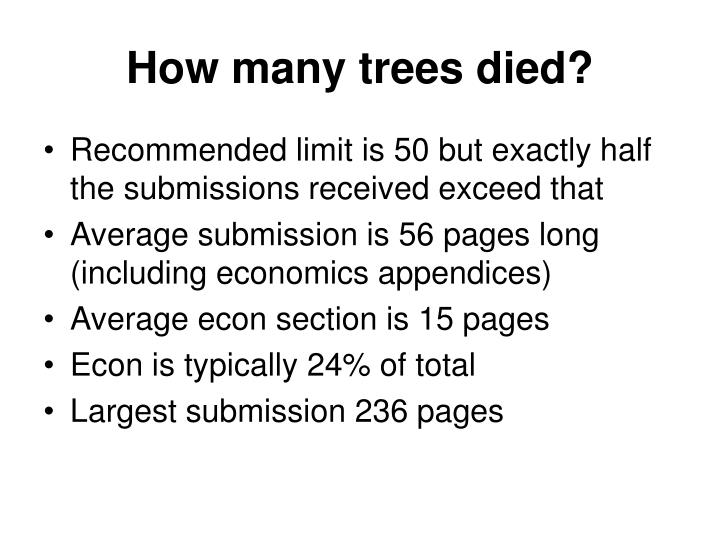 How many trees died?