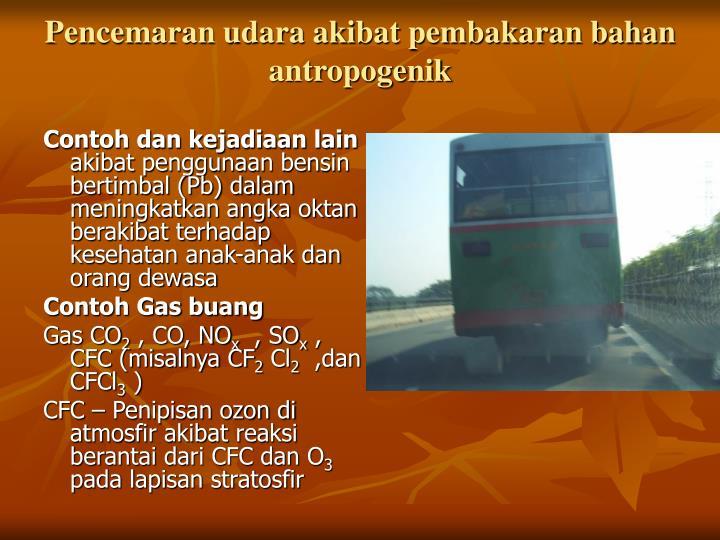 Pencemaran udara akibat pembakaran bahan antropogenik