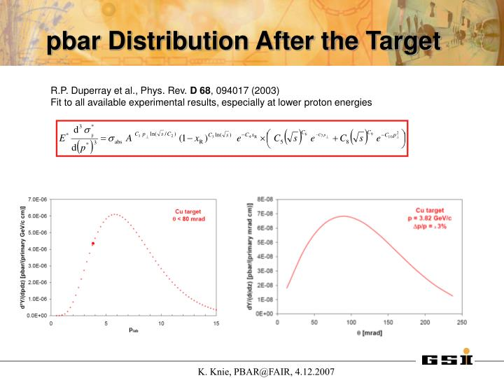 pbar Distribution After the Target