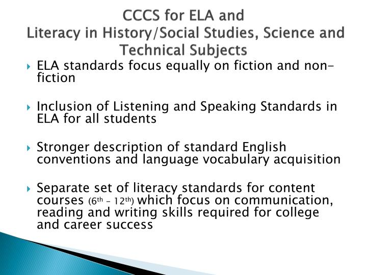 CCCS for ELA and
