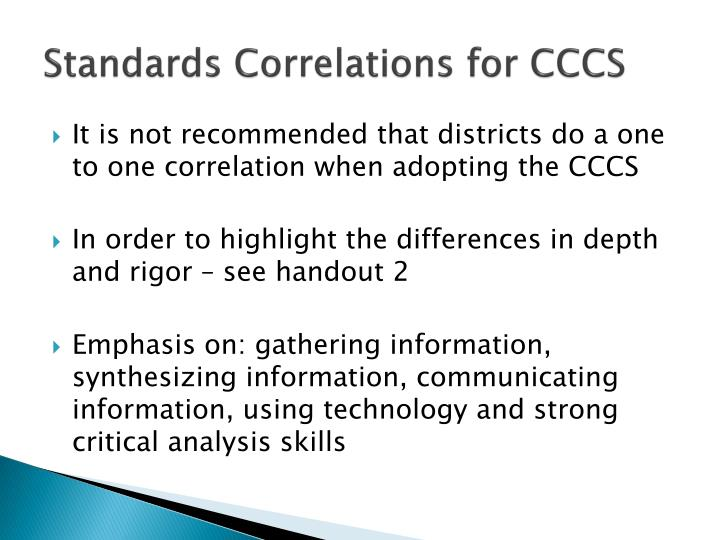 Standards Correlations for CCCS