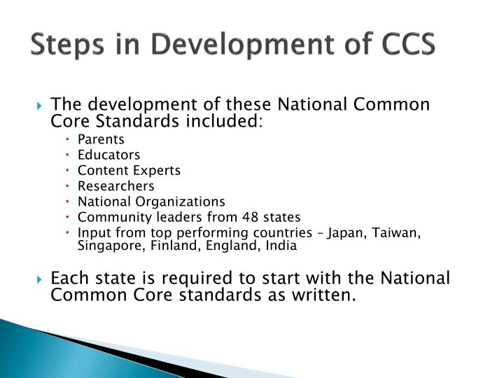 Steps in development of ccs