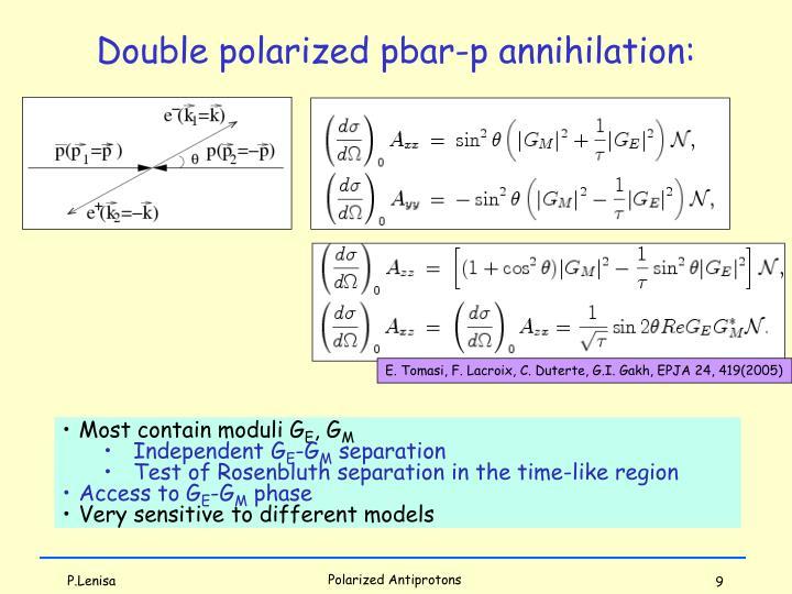 Double polarized pbar-p annihilation: