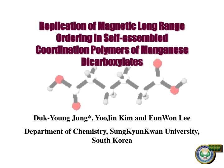 Replication of Magnetic Long Range Ordering in Self-assembled Coordination Polymers of Manganese Dic...