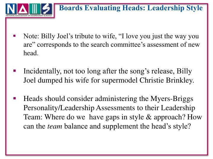 Boards Evaluating Heads: Leadership Style
