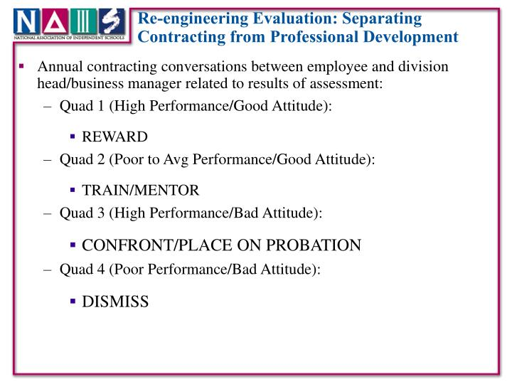 Re-engineering Evaluation: Separating Contracting from Professional Development