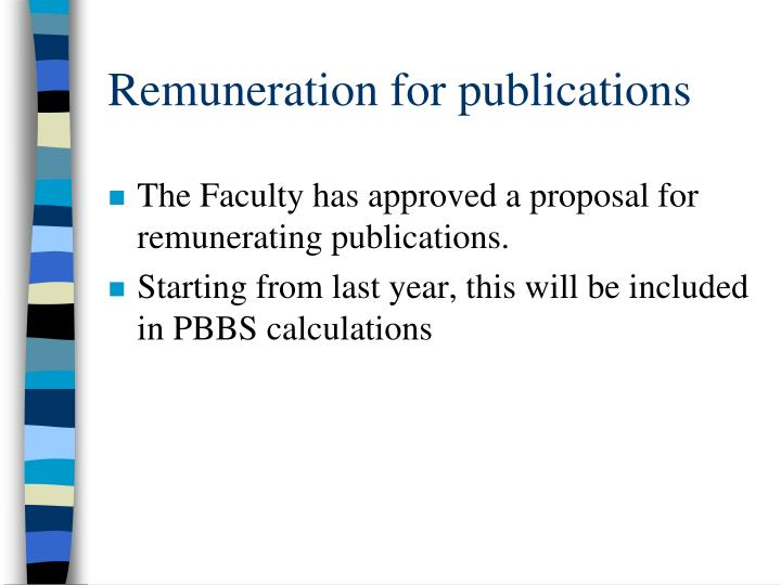 Remuneration for publications