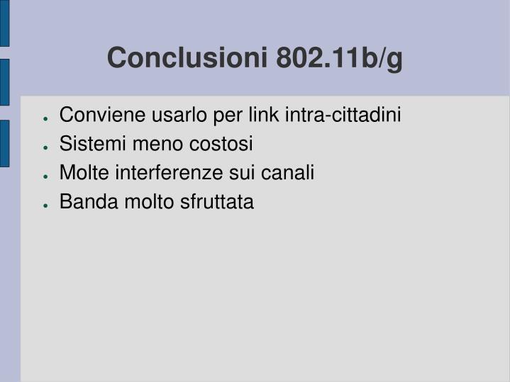 Conclusioni 802.11b/g