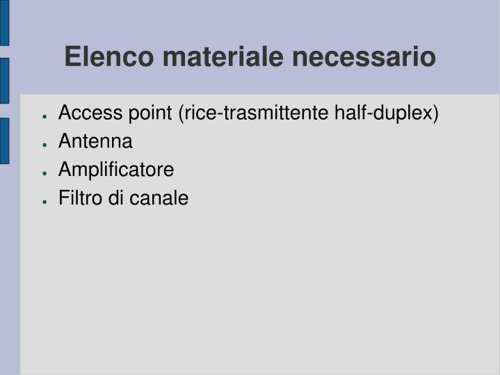 Elenco materiale necessario