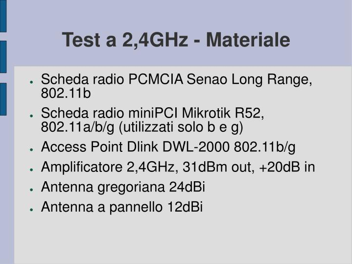 Test a 2,4GHz - Materiale