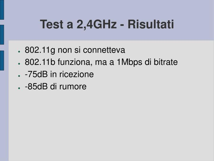 Test a 2,4GHz - Risultati
