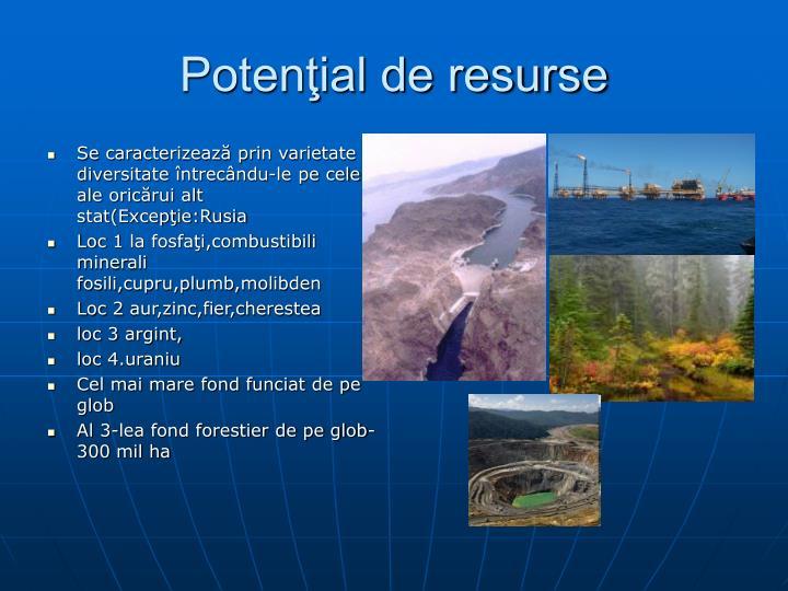 Potenţial de resurse