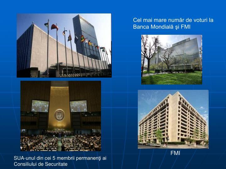 Cel mai mare număr de voturi la Banca Mondială şi FMI