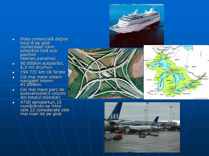 Flota comercială deţine locul 8 pe glob numeroase nave arborând însă sub pavilion liberian,panamez