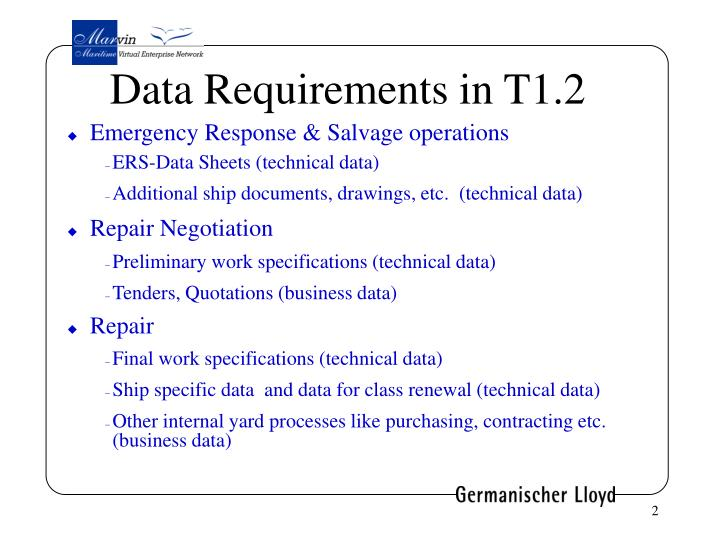 Data Requirements in T1.2