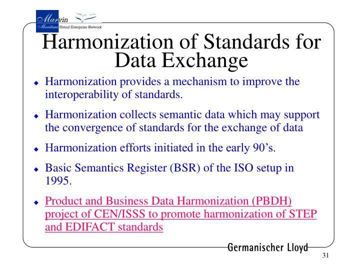Harmonization of Standards for Data Exchange