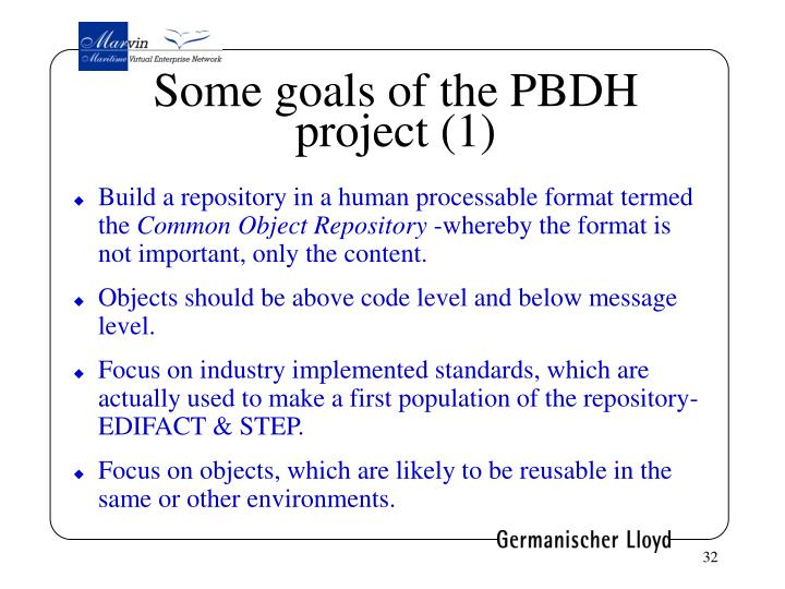 Some goals of the PBDH project (1)