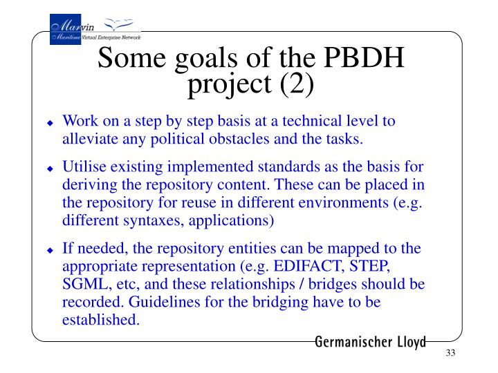 Some goals of the PBDH project (2)