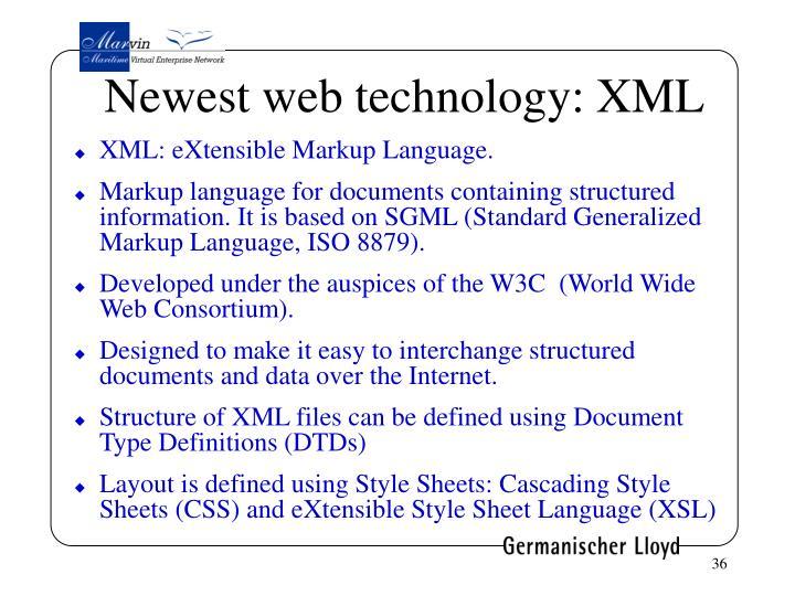 Newest web technology: XML