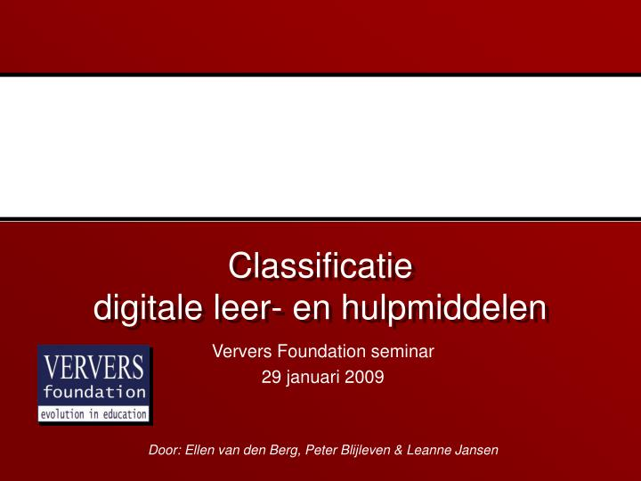 Classificatie digitale leer en hulpmiddelen