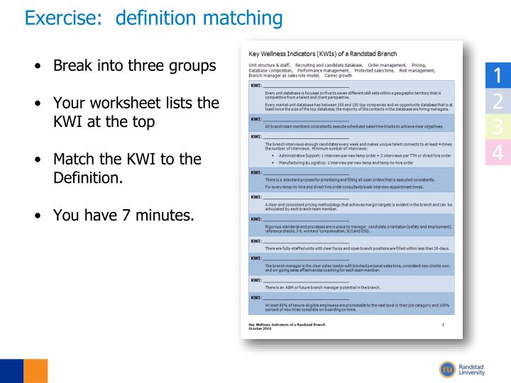 Exercise:  definition matching