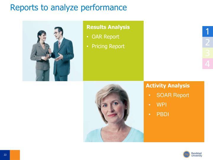 Reports to analyze performance