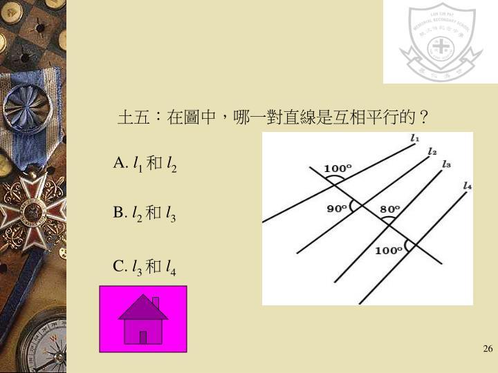 土五:在圖中,哪一對直線是互相平行的?