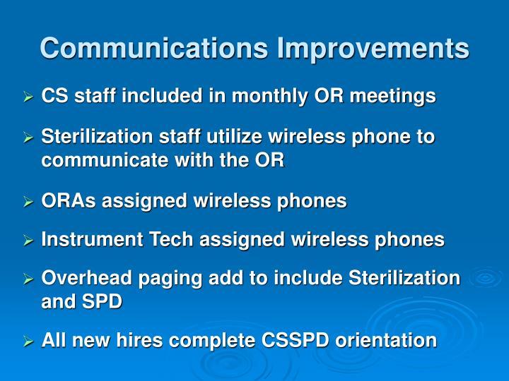Communications Improvements