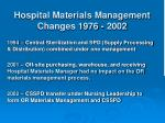 hospital materials management changes 1976 2002